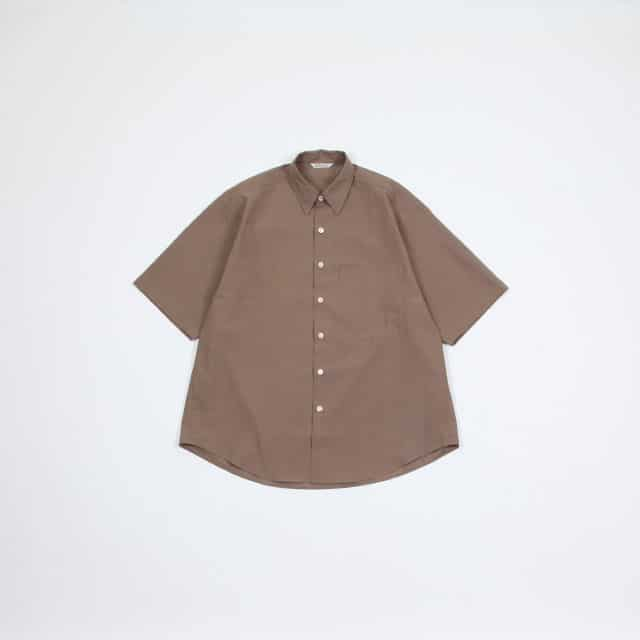 AURALEE WASHED FINX TWILL HALF SLEEVED BIG SHIRTS [A9SS02TN]