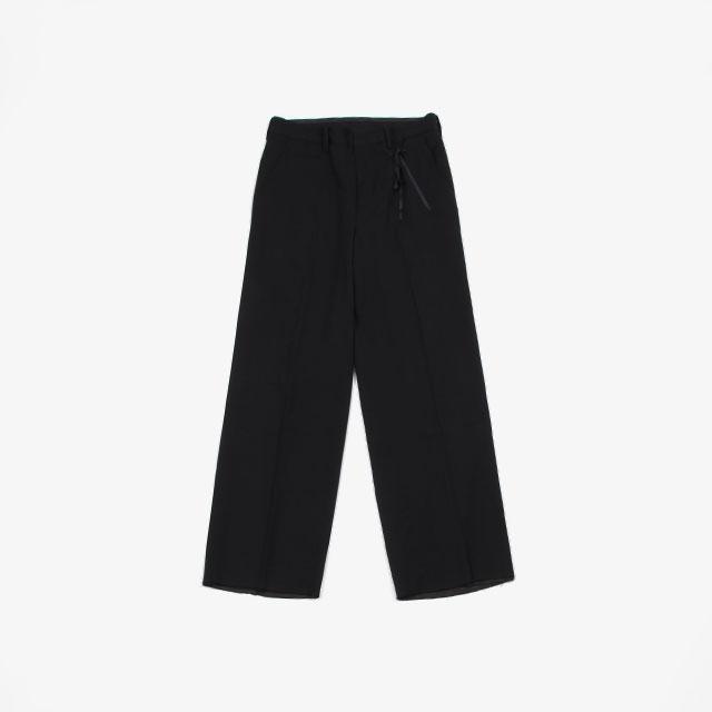 Midorikawa WIDE SLACKS – Wool Rayon BLACK [MID19AW-P02A]