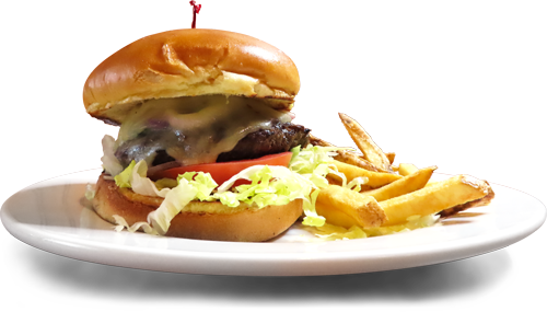 Photo of limited-time Chimichurri Burger served with a pile of fries.