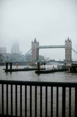 photo of tower bridge under misty weather
