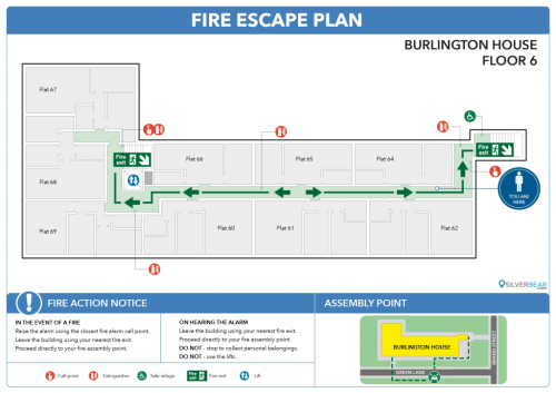 Flat fire escape plan
