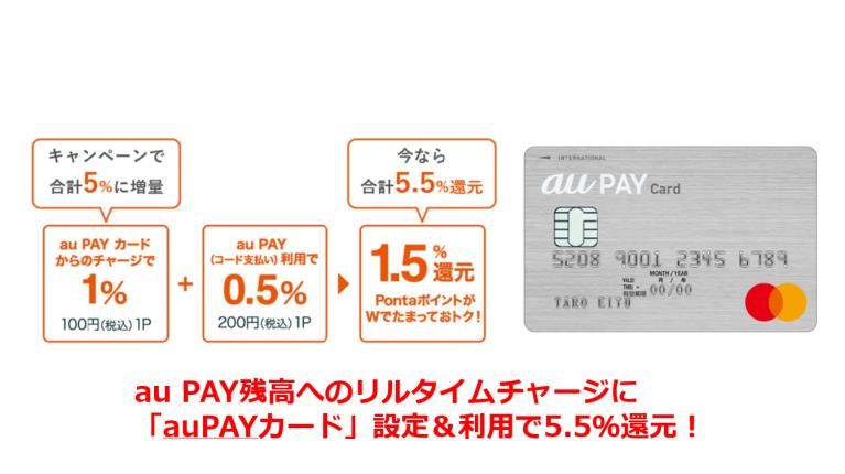 au PAY残高へのリルタイムチャージに「auPAYカード」設定&利用で5.5%還元!