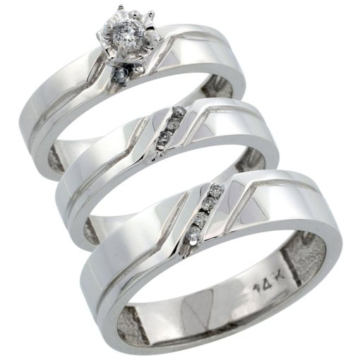 14K White Gold Diamond Jewelry Wedding   Engagement Sets Trio Rings 14k White Gold 3 Piece Trio His  5mm    Hers  4mm