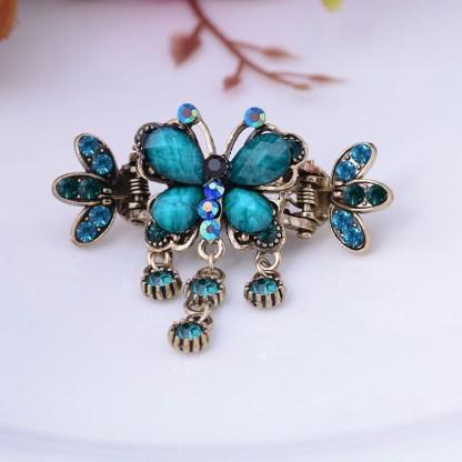 Blue Antique Bronze Metal Rhinestone Butterfly Hair Clip Claw