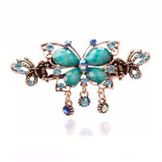Blue Antique Rhinestone Butterfly with Outline Metal Hair Clip Claw