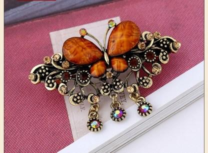 Brown Rhinstone Butterfly Hair Barrette Metal