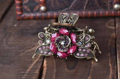 Purple Antique Rose Rhinestone Metal Hair Claw