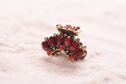 Red Six Stones Rhinestone Mini Hair Claw