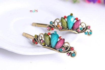 Multicolor Three Rhinestone Metal Bobby Pins Two Piece Set