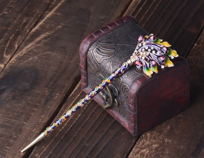 Purple and Yellow Enameled Cloisonne Hair Pin