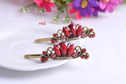 Red Three Rhinestone Metal Bobby Pins Two Piece Set