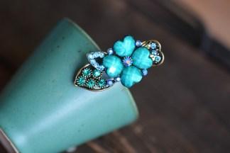 Blue Metal Mini Hair Clip Four Petal