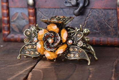 Brown Antique Rose Rhinestone Metal Hair Claw