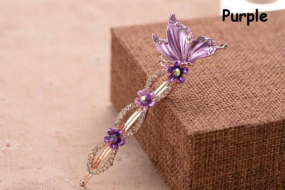Purple Painted Butterfly Bobby Pin