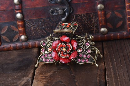 Red Antique Rose Rhinestone Metal Hair Claw