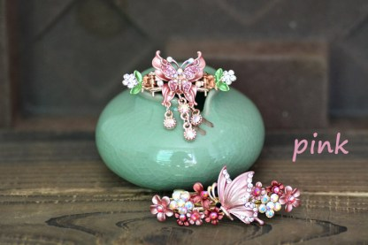 Pink Butterfly Hair Clip and Barrette Set.