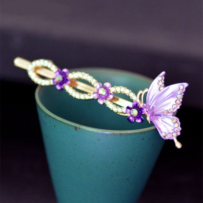 Purple Painted Butterfly Bobby Pin Main