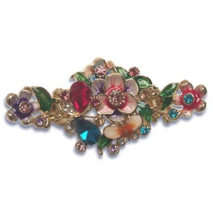 Multi Enameled Painted Flower and Butterfly Hair Claw