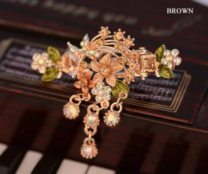 Brown Flower Bouquet hair clip