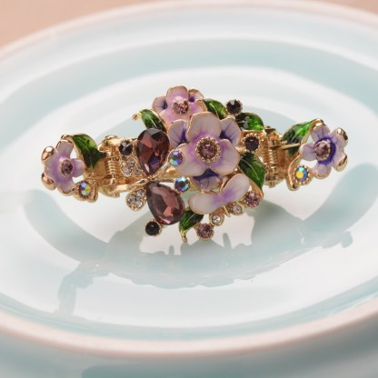 Purple Enameled Painted Flower and Butterfly Hair Claw