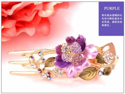 Purple Painted Luau Hair Claw Large