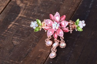 Pink Painted 5 Petal Flower Metal Hair Clip Claw Main