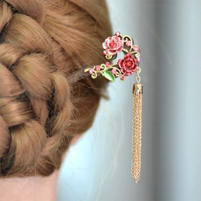 Modeled Wooden Hair Pin Painted Rose Flowers Metal Hairpin