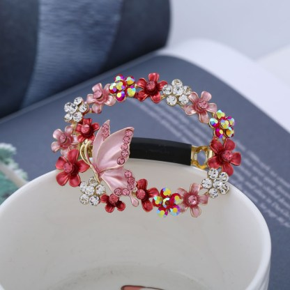 Pink Painted Butterfly Open Center Hair Barrette