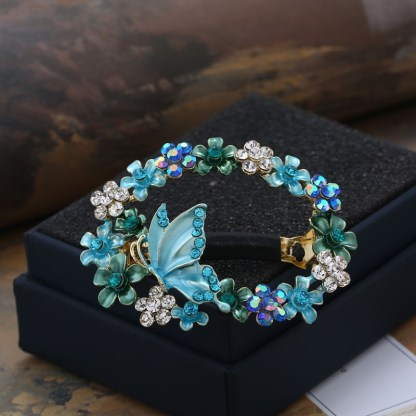 Blue Painted Butterfly Open Center Hair Barrette
