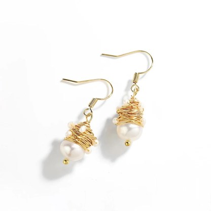 Natural Pearls Gold Wire Dangle Drop Earrings