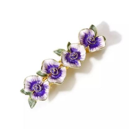 Purple Enameled Four Flower Barrette