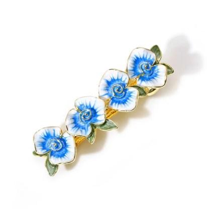 Blue Enameled Four Flower Barrette