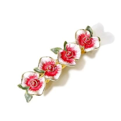Red Enameled Four Flower Barrette