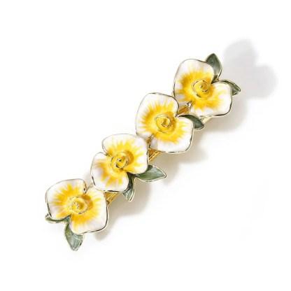 Yellow Enameled Four Flower Barrette