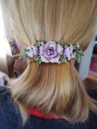 Purple Enameled Metal Flower Barrette Modeled