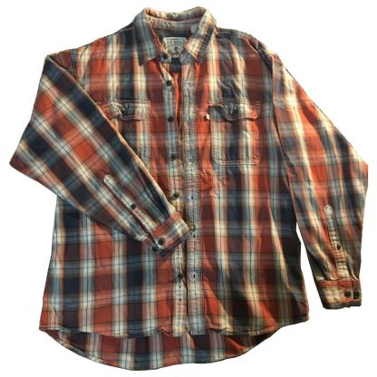 Red Head Orange and Blue Flannel Shirt