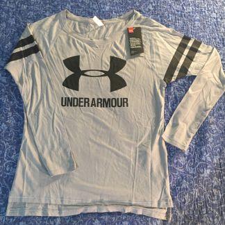 Under Armour Gray Black Logo Long Sleeve Shirt