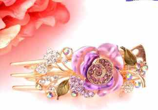 Purple Painted Rose Large Hair Clip