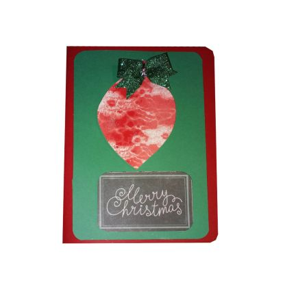 Merry Christmas Ornament Card with Bow