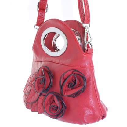 Silver Fever® Rose Applique Mini Clutch Crossbody Handbag Red
