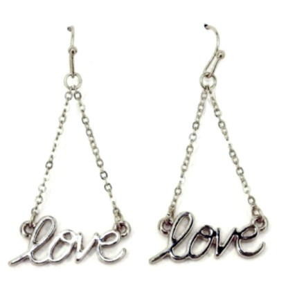 Love Chain Link Drop Script Silver Plated Fashion Earrings