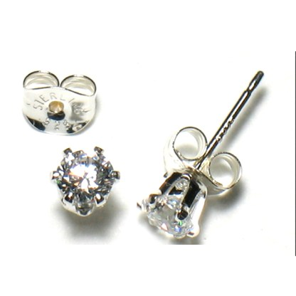 Sterling Silver 1 Ct  Round Cut CZ 5 MM Post Earrings Snap Closure Gift Box