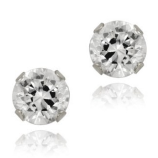 Sterling Silver 2 Ct Round Cut CZ 6 MM Post Earrings Snap Closure Gift Box