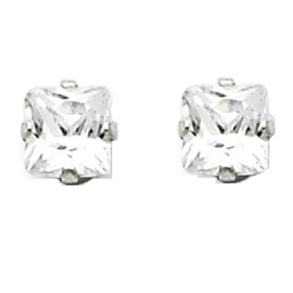 Sterling Silver Princess Cut Square CZ 5*5 MM Post Earrings Snap Closure Gift Box