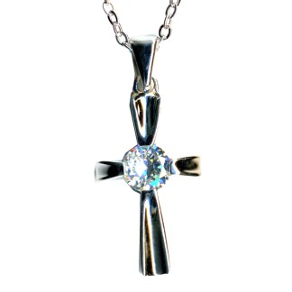 Classic Cross Round 1 Ct CZ  Religious Christian Cross Necklace Sterling Silver 925