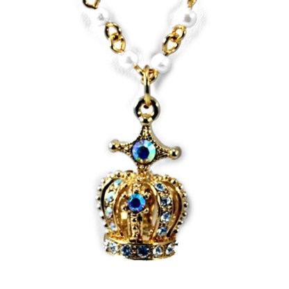 Long 3-Layer Cross & Crown Charms 18 Kt Gold Plated Rosary Pearl Necklace w CZ