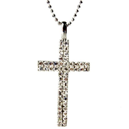 "Sterling Silver 925 Double Cross Studded CZ Necklace 18"" Chain Gift Box"