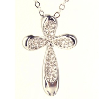 "Sterling Silver 925 CZ Studded Oval Angel Wings Cross Necklace 18"" Gift Box"