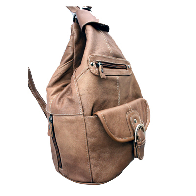 Genuine Leather Tan Brown Sling Backpack Purse Organizer fc7f4b5d1