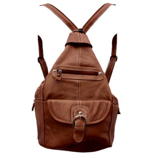 Genuine Leather Medium Brown Sling Backpack Organizer